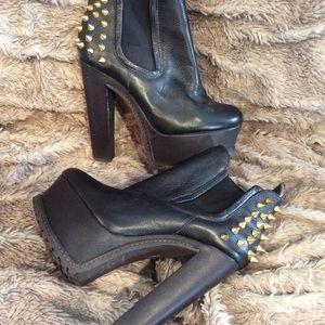 Topshop gold stud platform boots